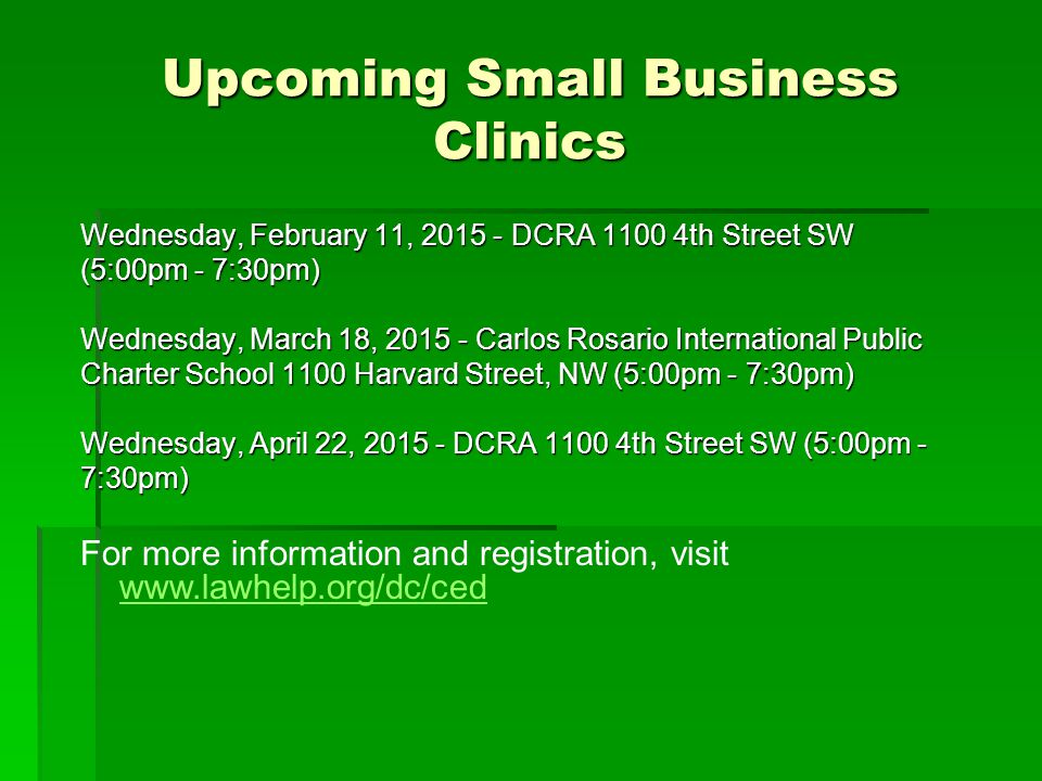 Upcoming Small Business Clinics