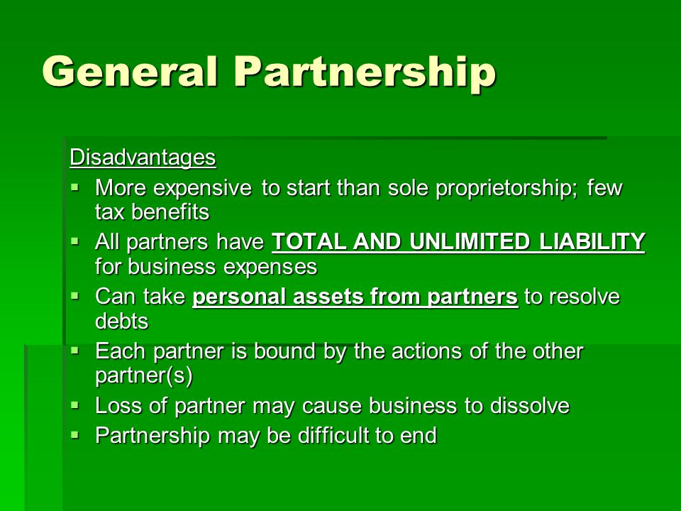 General Partnership Disadvantages