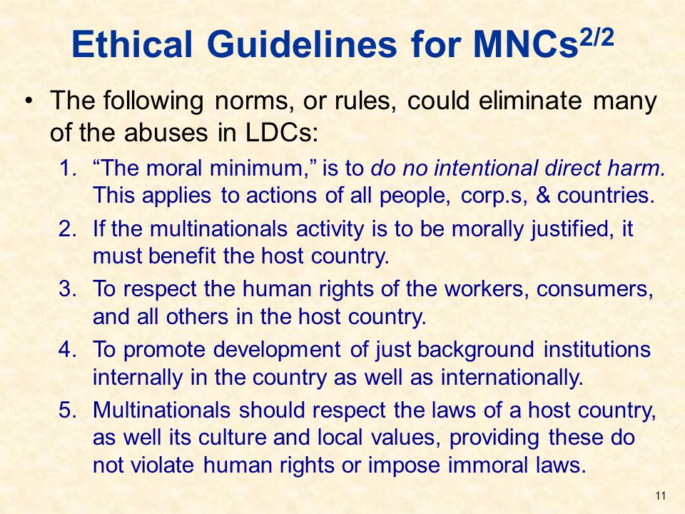 Ethical Guidelines for MNCs2/2