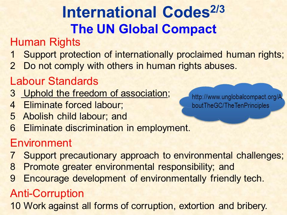 International Codes2/3 The UN Global Compact