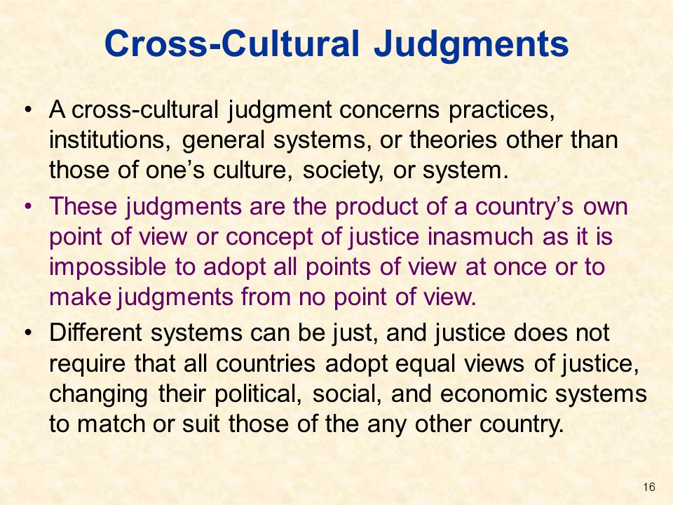 Cross-Cultural Judgments