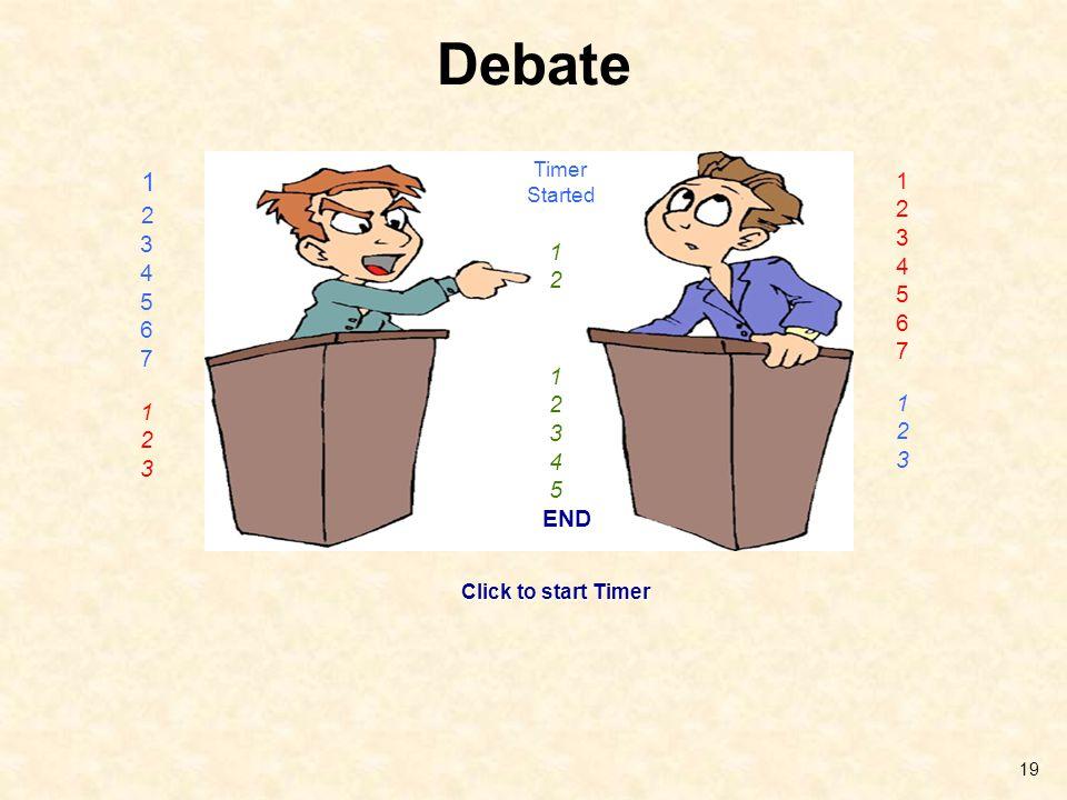 Debate Timer Started 1 2 3 4 5 6 7 1 2 3 4 5 6 7 1 2 1 2 3 4 5 END 1 2 3 1 2 3 Click to start Timer