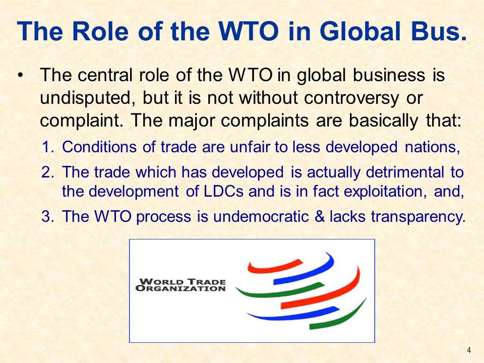 The Role of the WTO in Global Bus.