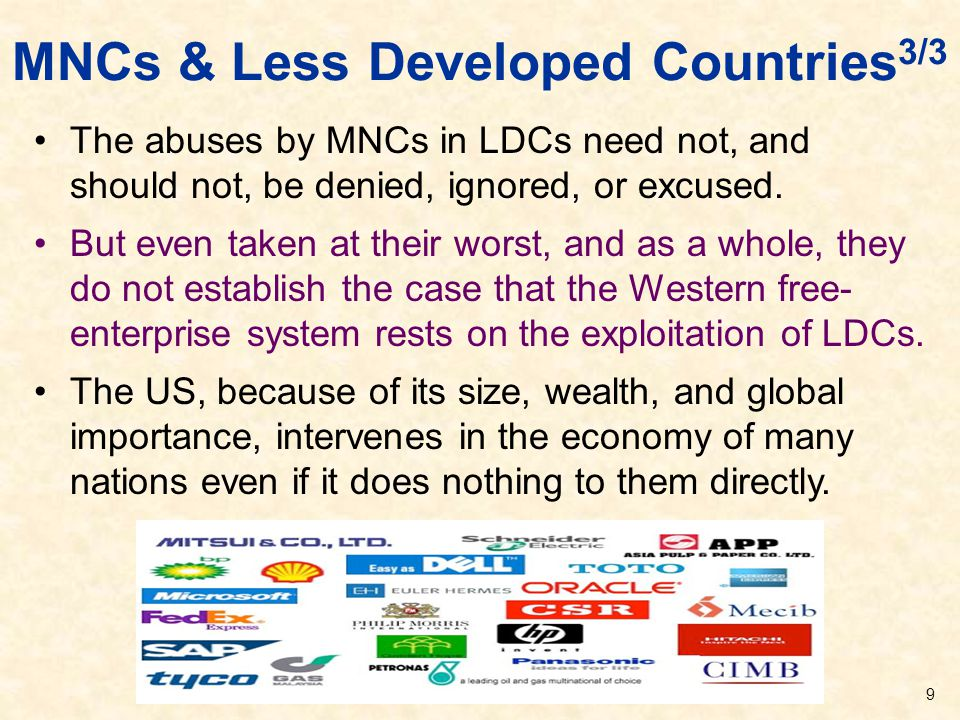 MNCs & Less Developed Countries3/3