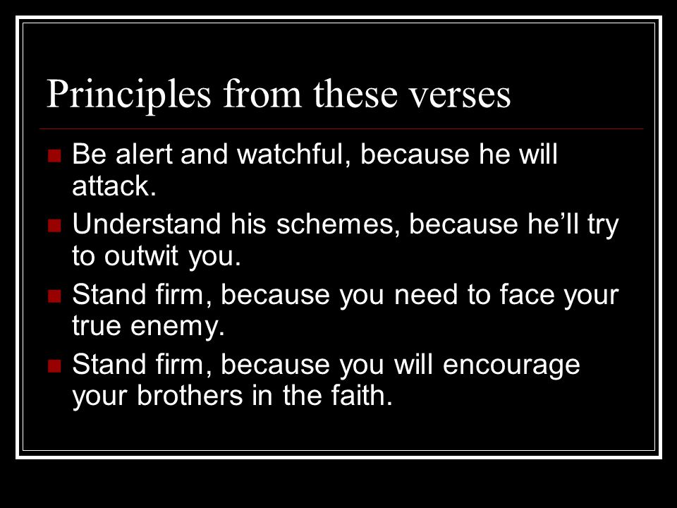 Principles from these verses