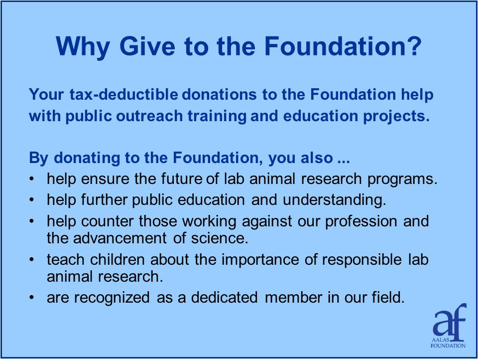 Why Give to the Foundation