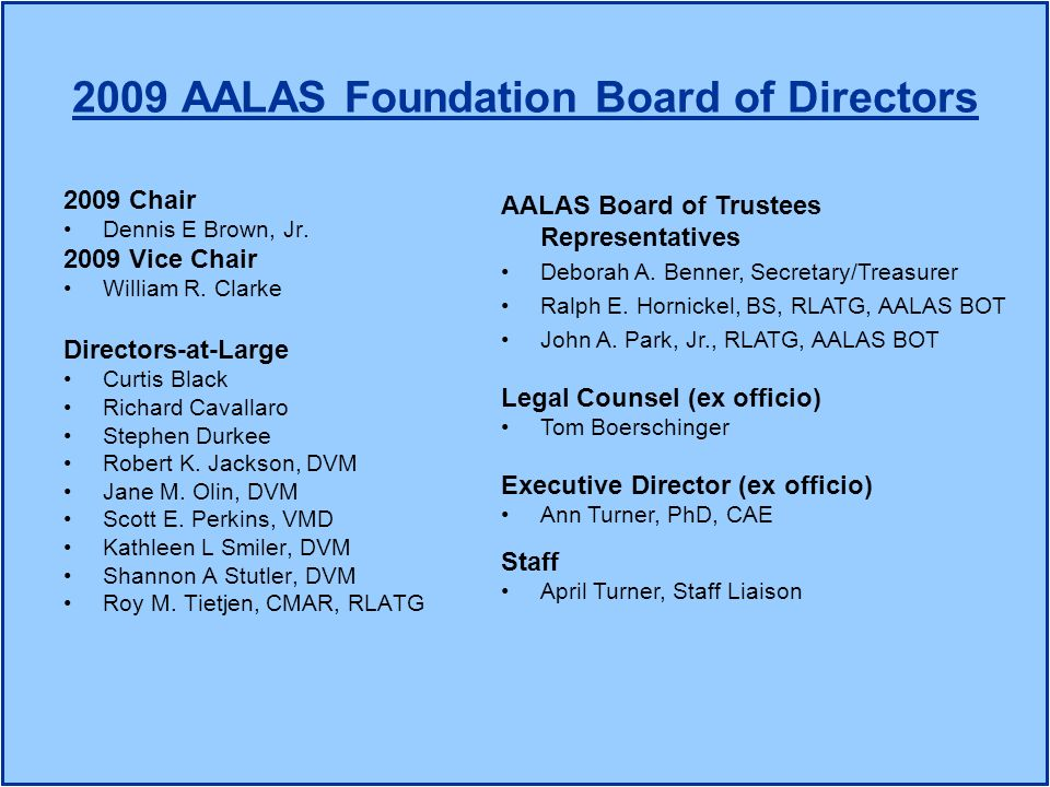 2009 AALAS Foundation Board of Directors