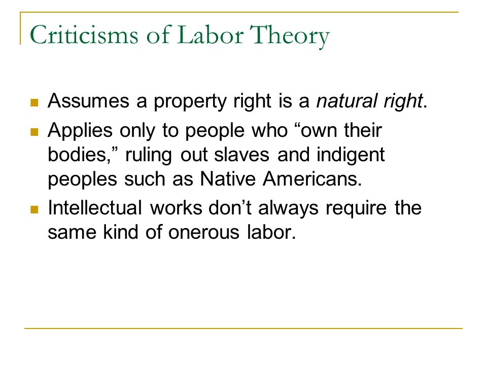 Criticisms of Labor Theory