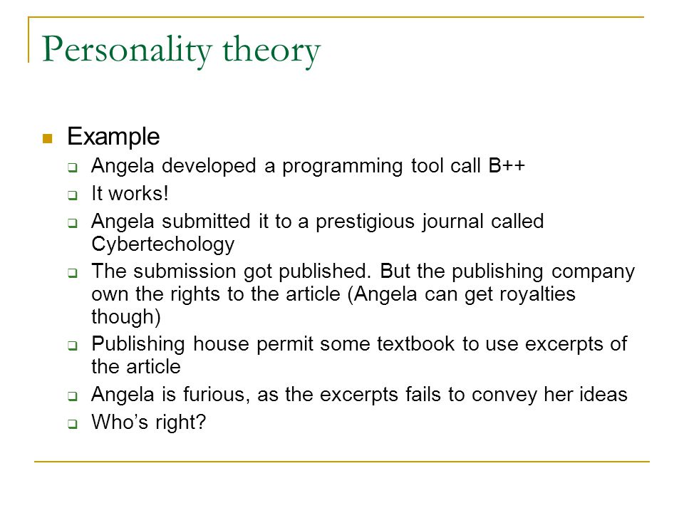 Personality theory Example