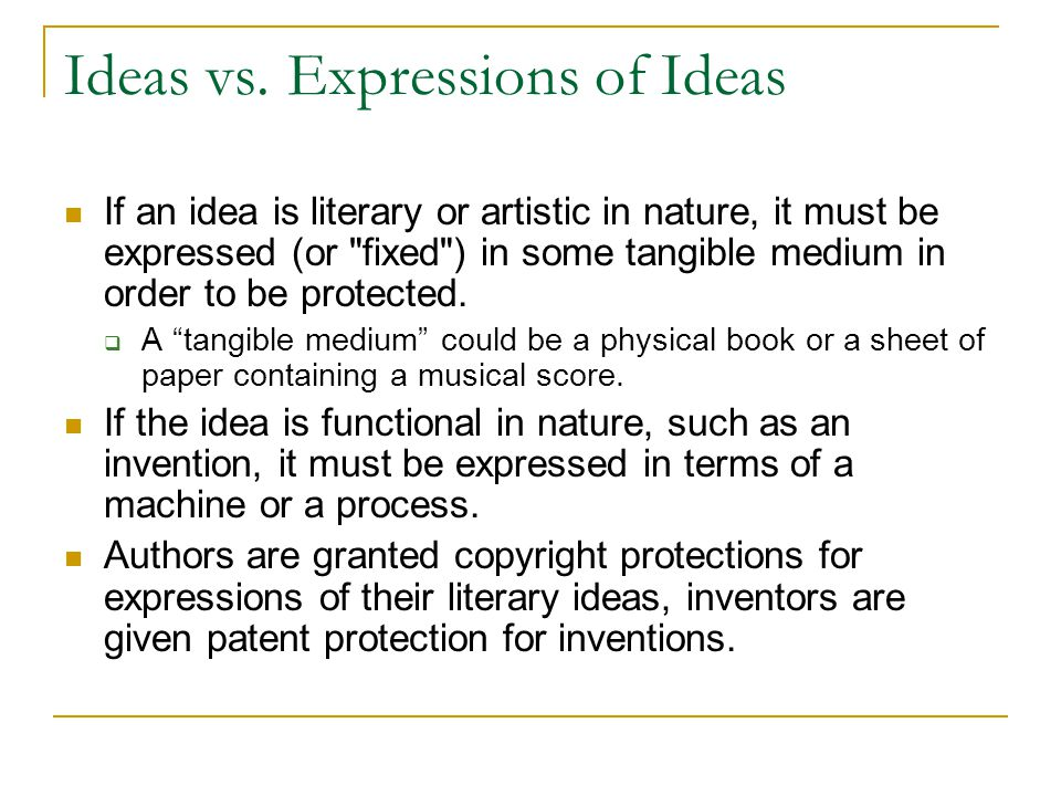 Ideas vs. Expressions of Ideas