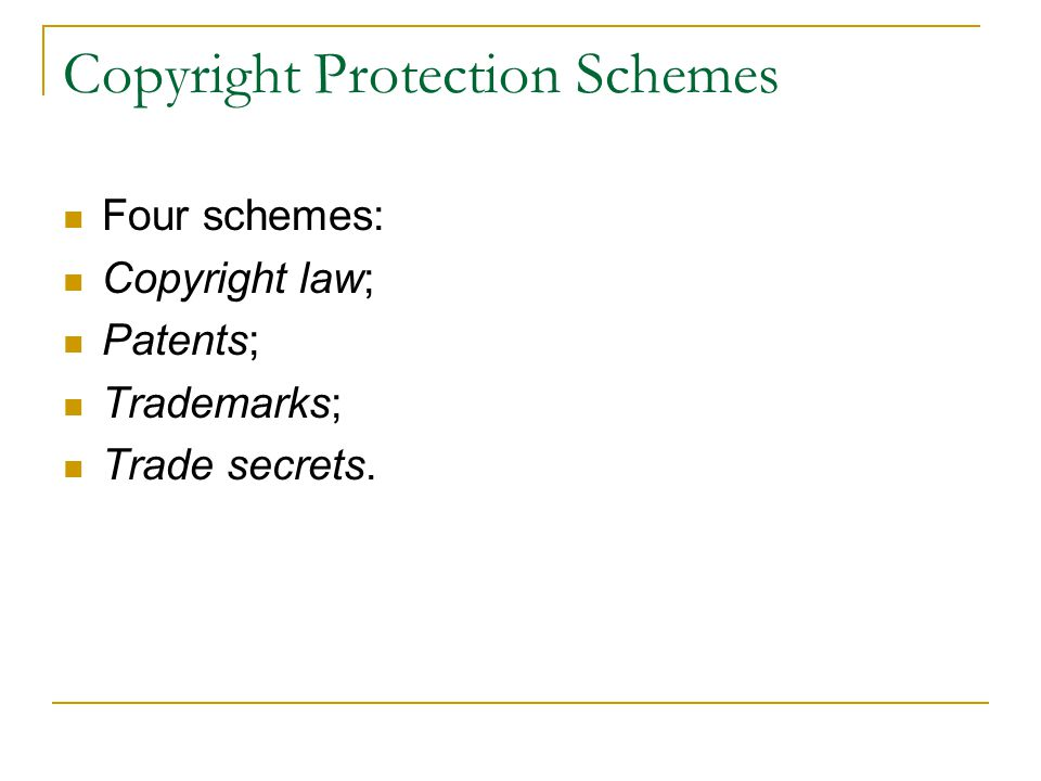 Copyright Protection Schemes