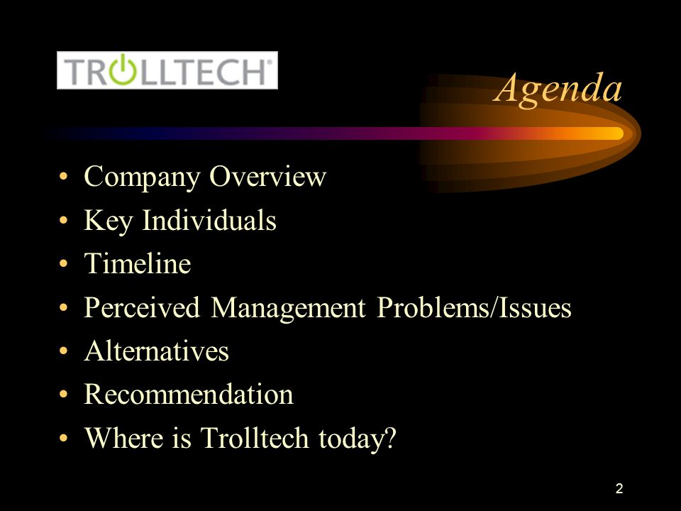 Agenda Company Overview Key Individuals Timeline