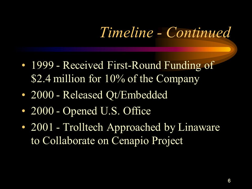 Timeline - Continued 1999 - Received First-Round Funding of $2.4 million for 10% of the Company. 2000 - Released Qt/Embedded.