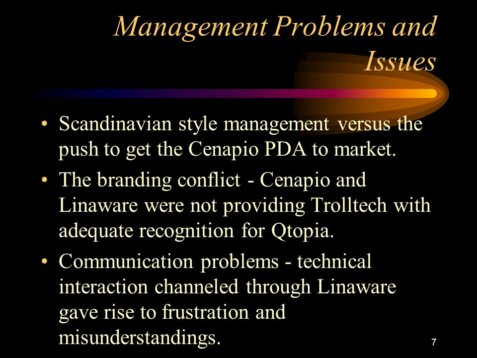 Management Problems and Issues