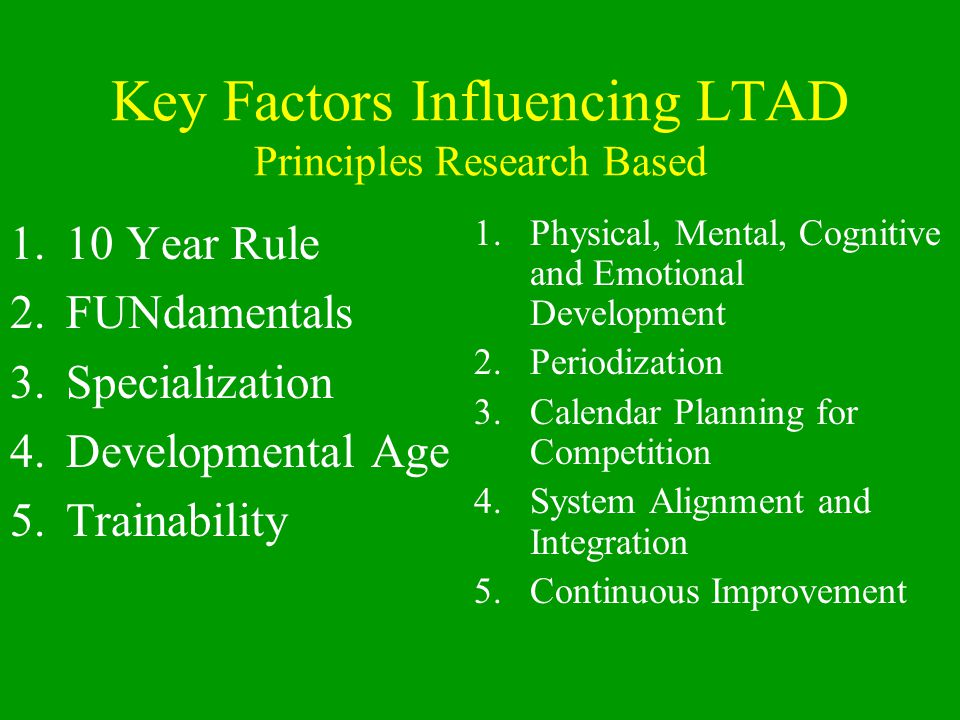 Key Factors Influencing LTAD Principles Research Based