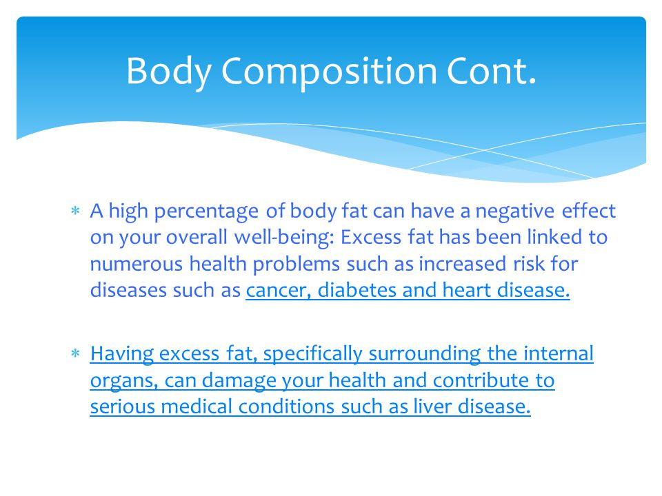Body Composition Cont.