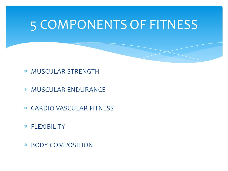 5 COMPONENTS OF FITNESS MUSCULAR STRENGTH MUSCULAR ENDURANCE