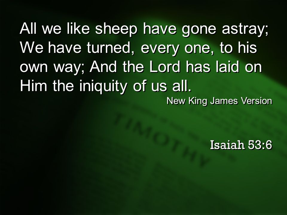 All we like sheep have gone astray;