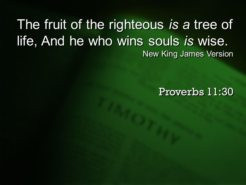 The fruit of the righteous is a tree of life, And he who wins souls is wise.