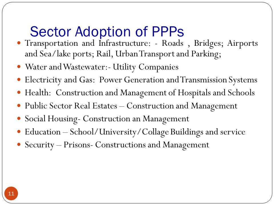 Sector Adoption of PPPs