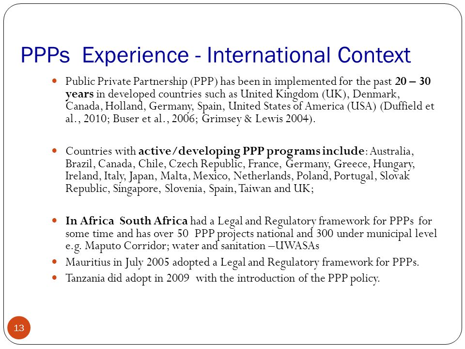 PPPs Experience - International Context