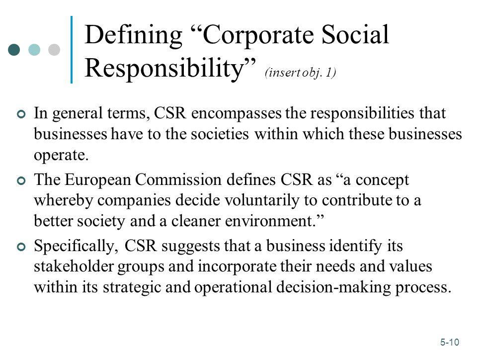 Defining Corporate Social Responsibility (insert obj. 1)