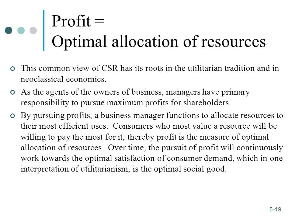 Profit = Optimal allocation of resources