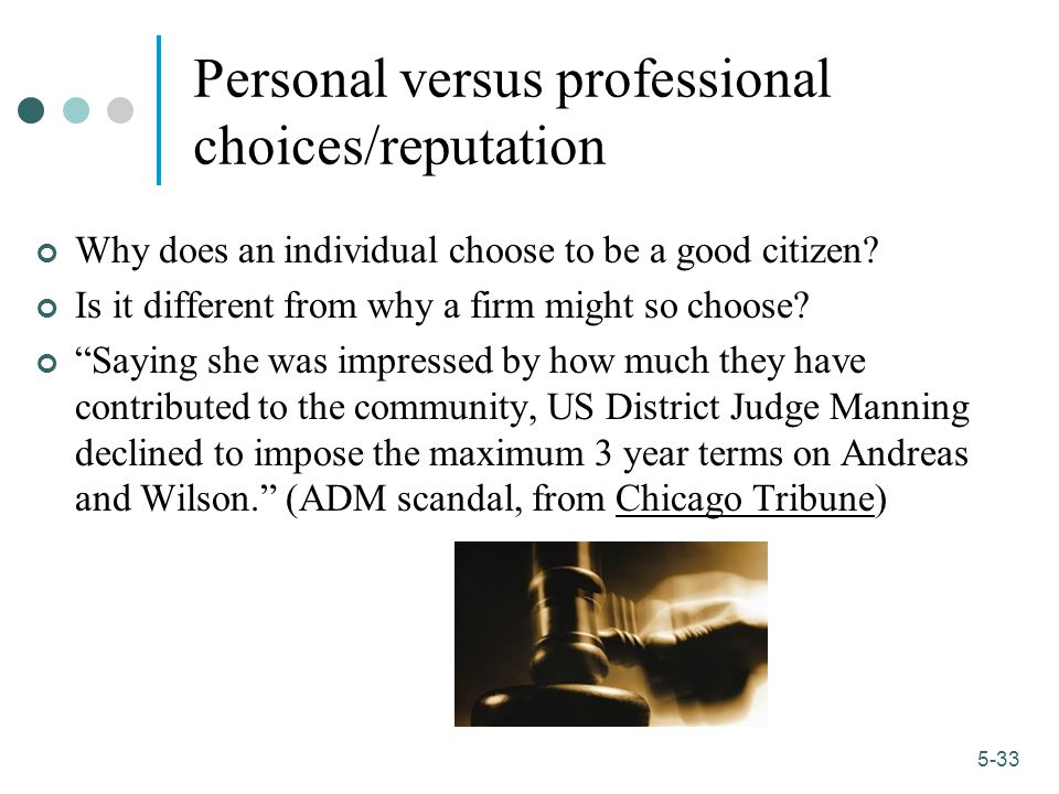 Personal versus professional choices/reputation