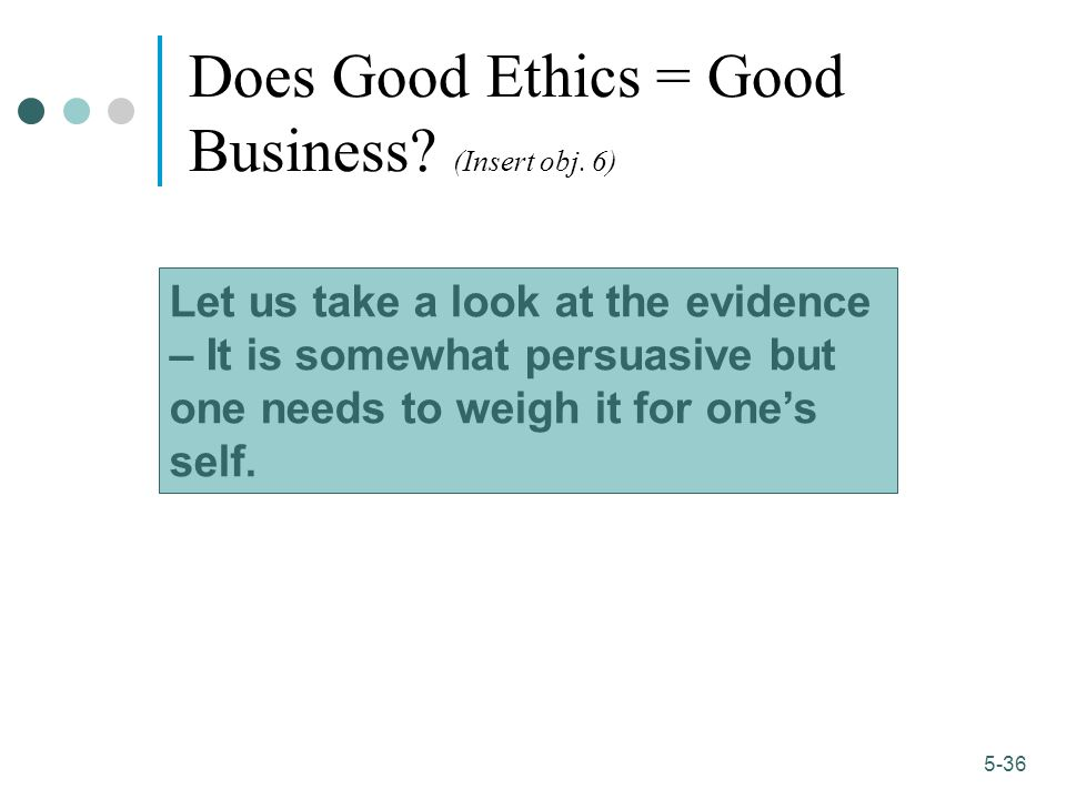 Does Good Ethics = Good Business (Insert obj. 6)