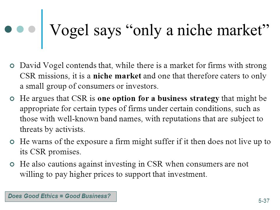 Vogel says only a niche market