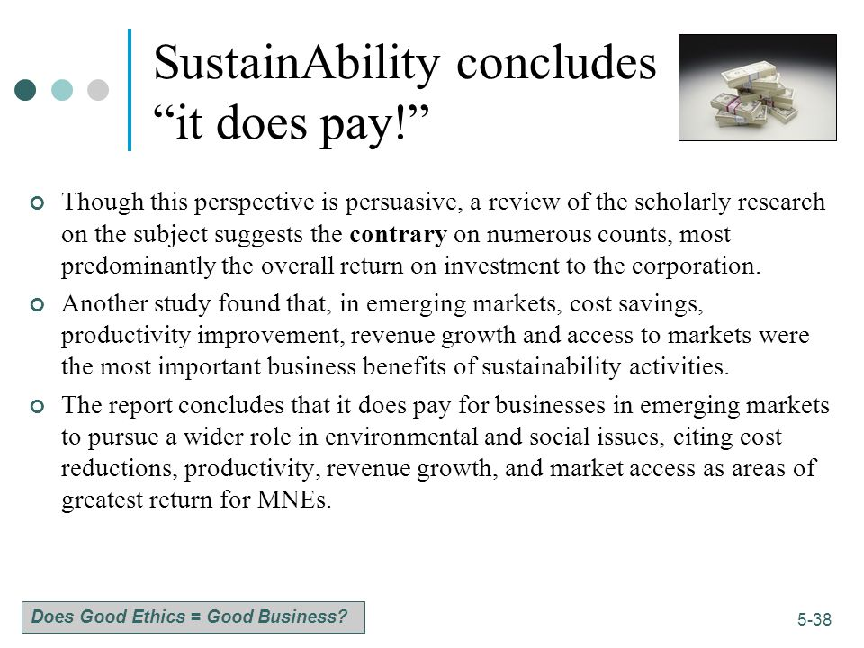 SustainAbility concludes it does pay!