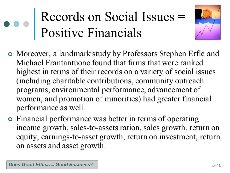 Records on Social Issues = Positive Financials