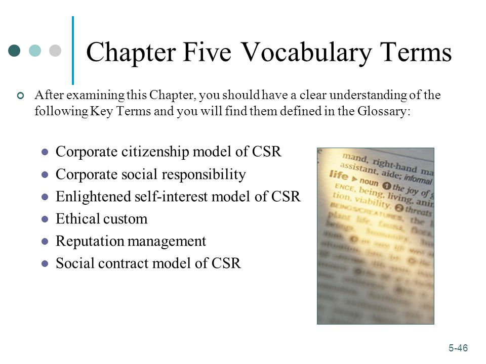Chapter Five Vocabulary Terms