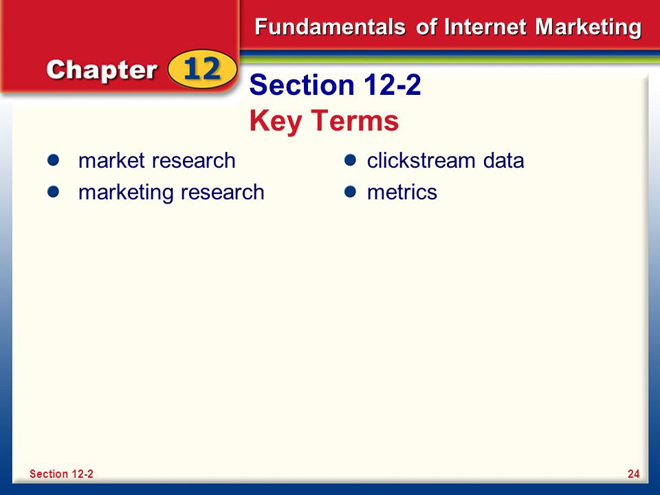 Section 12-2 Key Terms market research marketing research