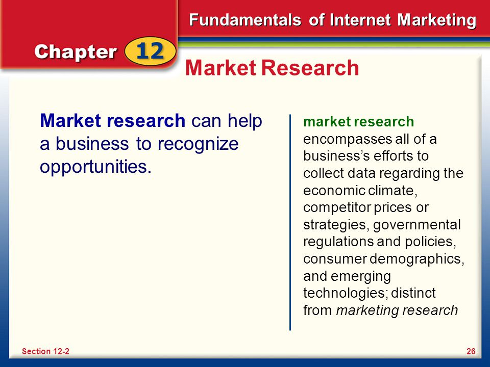 Market Research Market research can help a business to recognize opportunities.