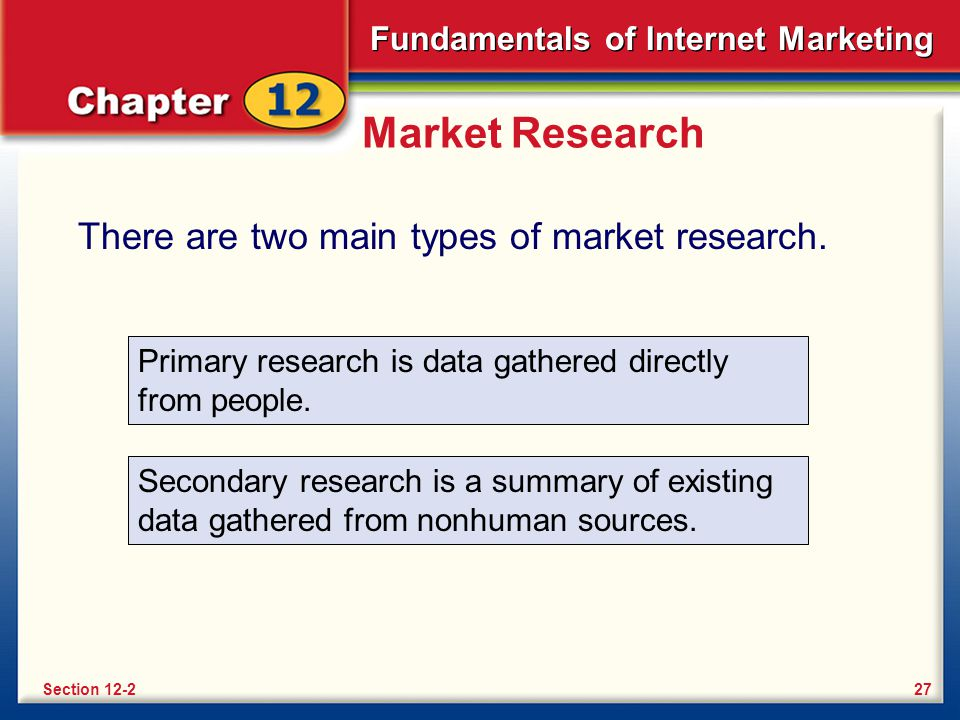 Market Research There are two main types of market research. Primary