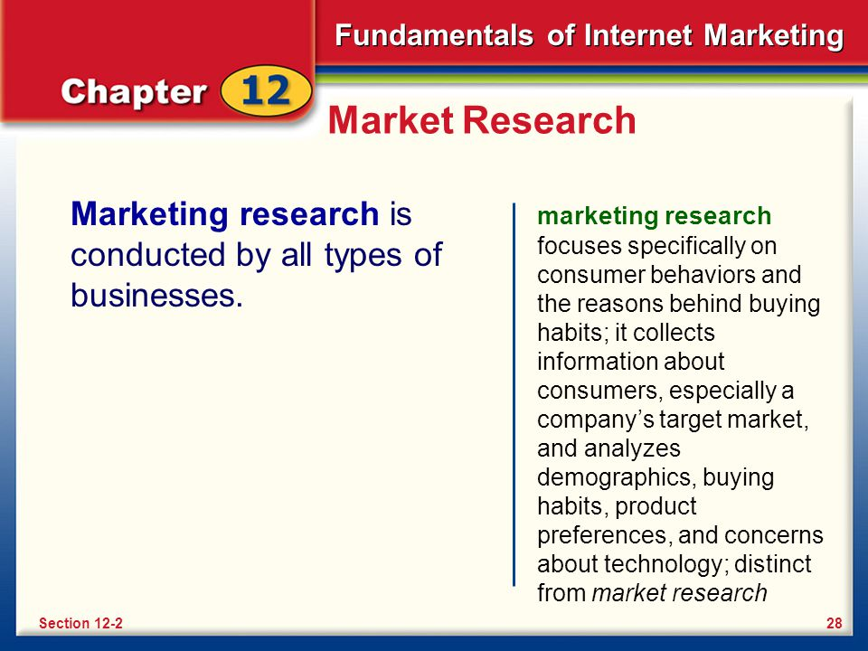 Market Research Marketing research is conducted by all types of businesses.
