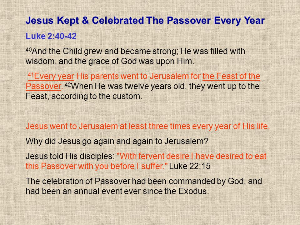 Jesus Kept & Celebrated The Passover Every Year