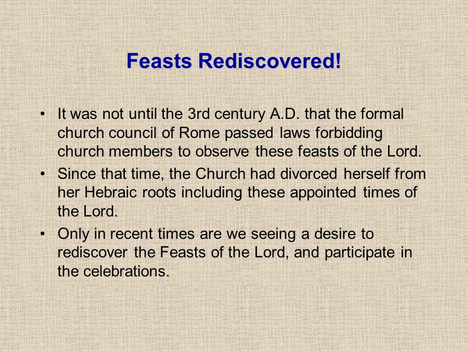 Feasts Rediscovered!