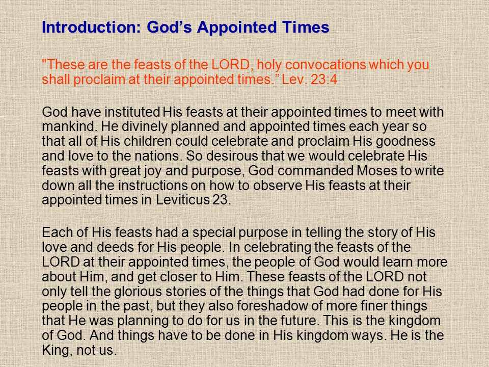 Introduction: God's Appointed Times