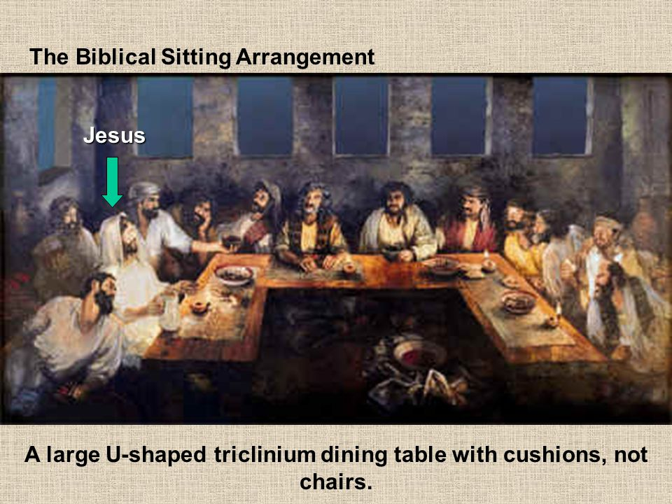 A large U-shaped triclinium dining table with cushions, not chairs.