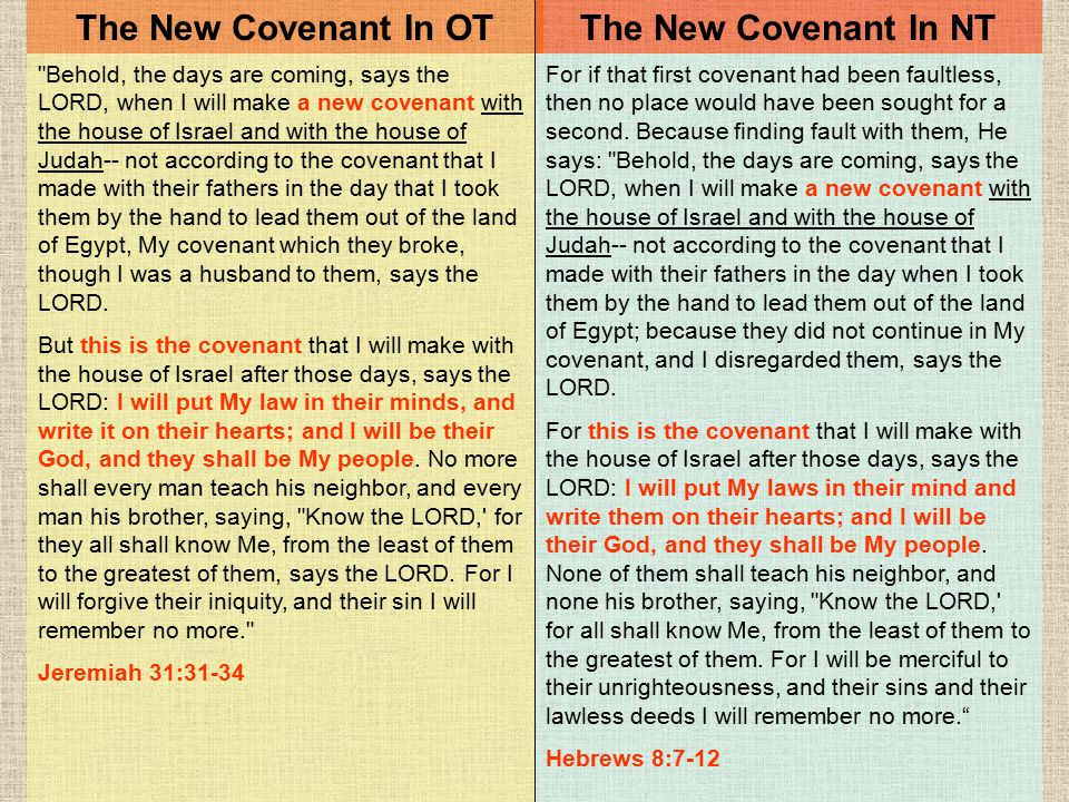 The New Covenant In OT The New Covenant In NT