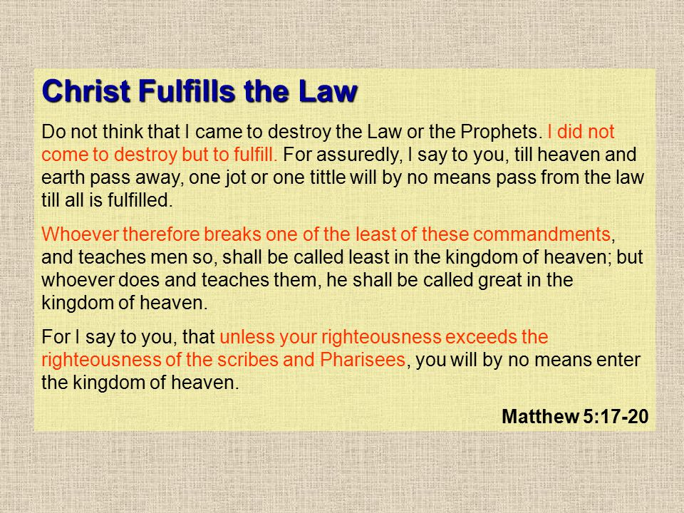 Christ Fulfills the Law