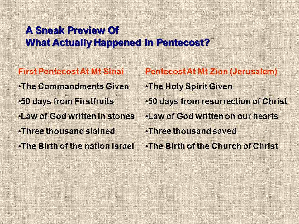 A Sneak Preview Of What Actually Happened In Pentecost