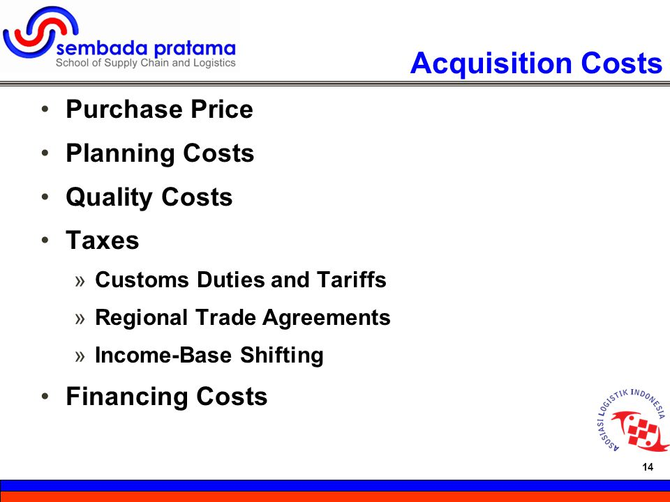 Acquisition Costs Purchase Price Planning Costs Quality Costs Taxes