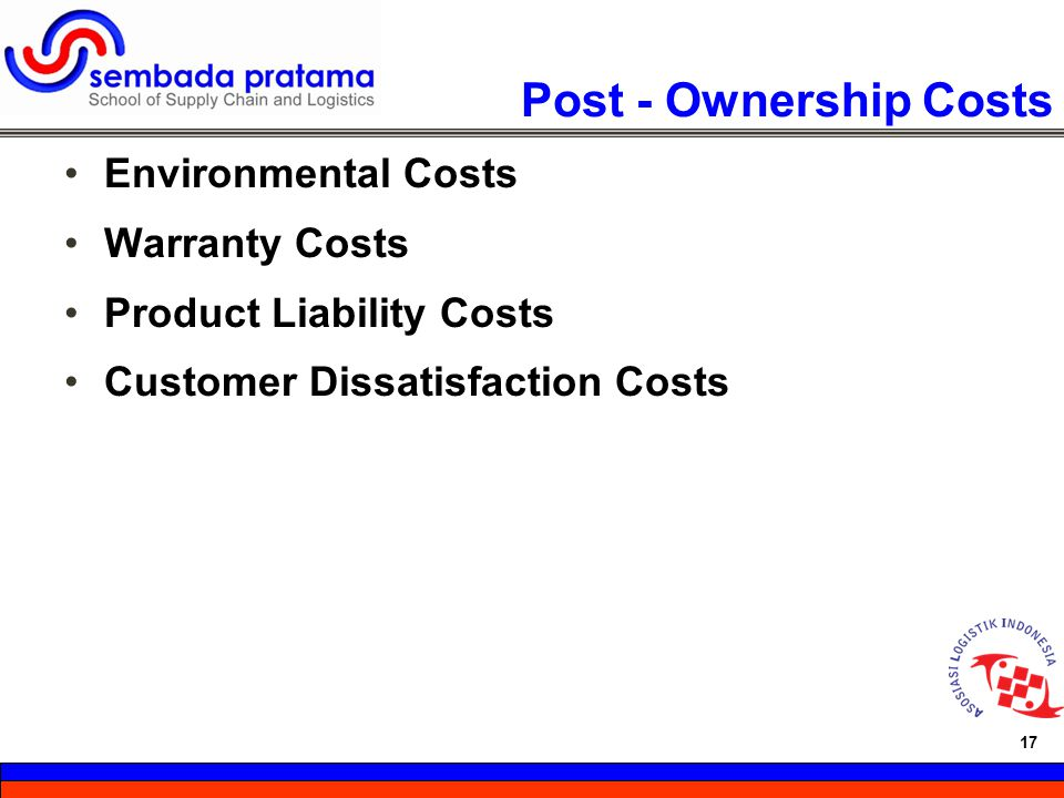 Post - Ownership Costs Environmental Costs Warranty Costs