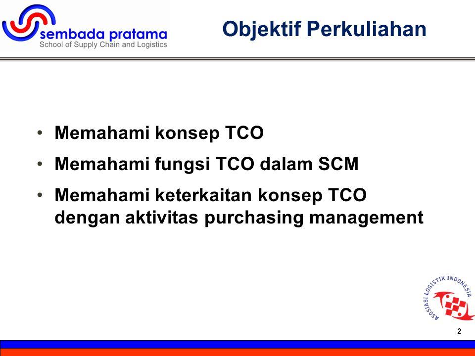 Objektif Perkuliahan Memahami konsep TCO Memahami fungsi TCO dalam SCM