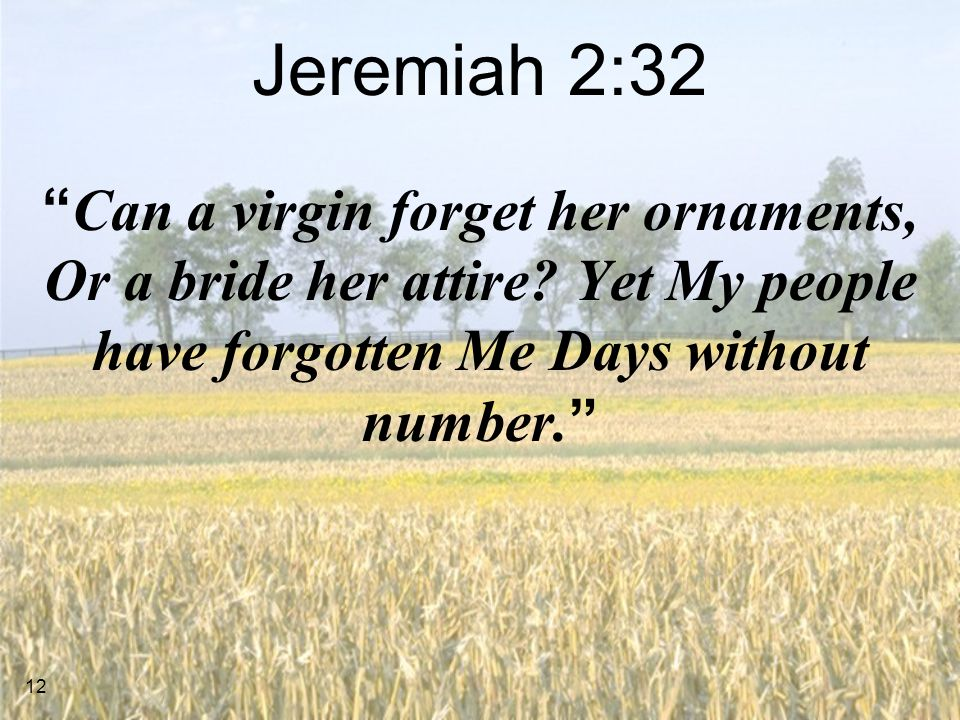 Jeremiah 2:32 Can a virgin forget her ornaments, Or a bride her attire.