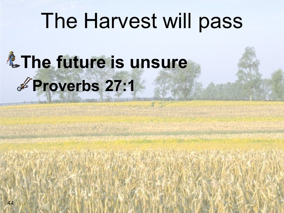 The Harvest will pass The future is unsure Proverbs 27:1