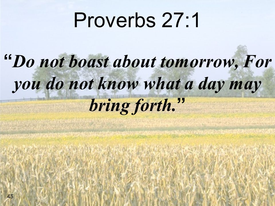 Proverbs 27:1 Do not boast about tomorrow, For you do not know what a day may bring forth.